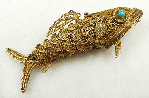 Figural Jewelry - Birds & Fish - Chinese Gilded Filigree Fish Pill Box