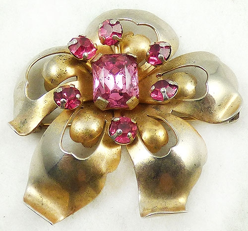 Florals - Leo Glass Sterling Flower Brooch
