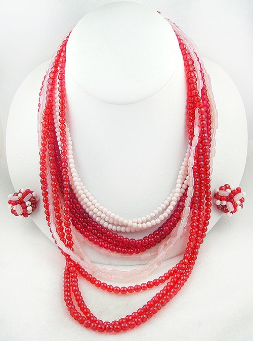Newly Added Eugene Red and White Glass Bead Necklace Set