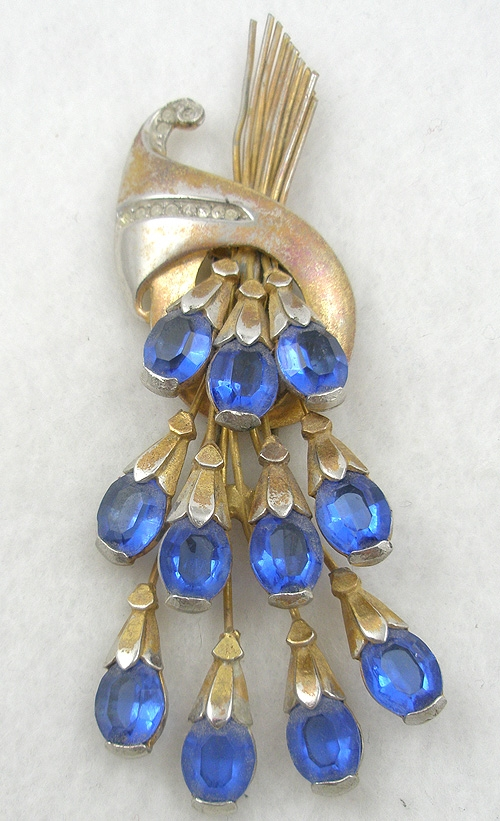 End of Year Sale! 30-50% OFF - Retro Blue Rhinestone Cascade Fur Clip