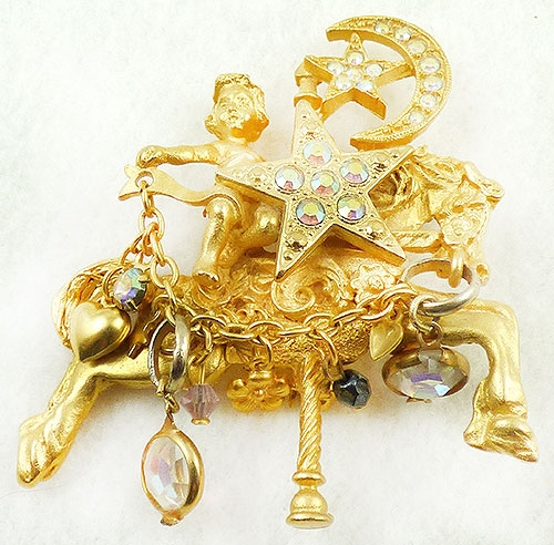 Figural Jewelry - Animals - Kirks Folly Celestial Carousel Brooch