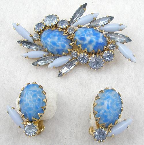 Sets & Parures - Blue Art Glass Brooch Set