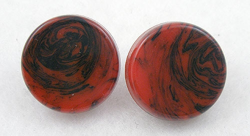 End of Year Sale! 30-50% OFF - Red & Black Marbled Bakelite Earrings