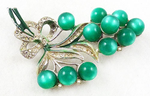 Florals - Coro  Green Moonglow Floral Brooch