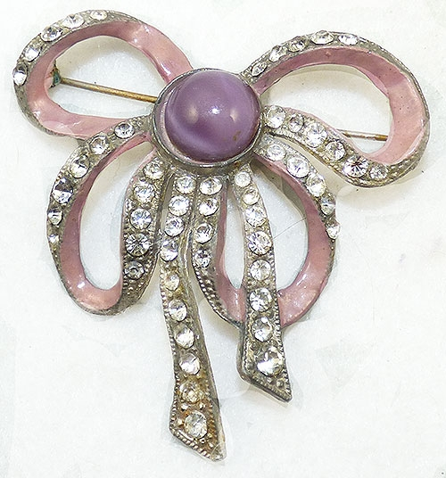 Newly Added Lavender Enamel Pot Metal Bow Brooch