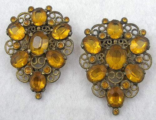 End of Year Sale! 30-50% OFF - Topaz Rhinestone Filigree Dress Clips Pair