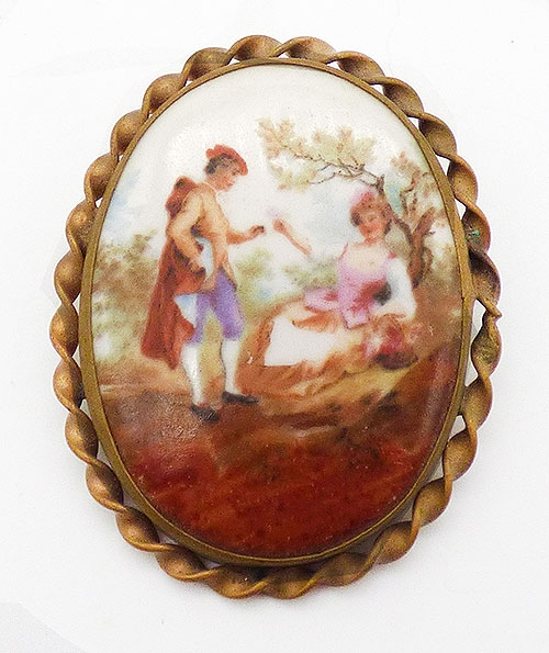 Newly Added Porcelain Courting Couple Brooch