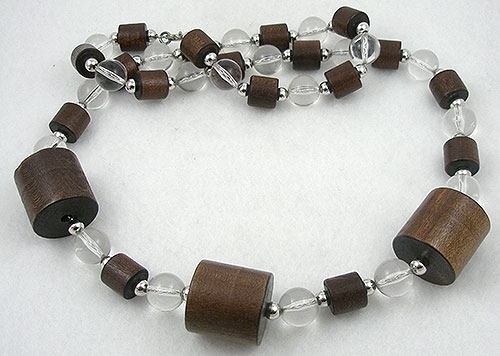 Wooden Jewelry - Wood & Lucite Bead Necklace