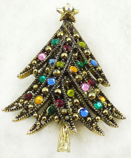 Newly Added Hollycraft Rhinestone Christmas Tree Brooch
