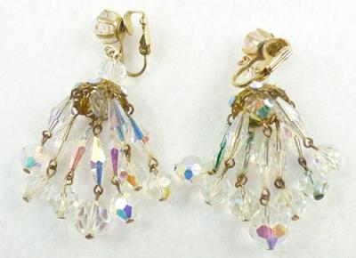 Crystal bead chandelier earrings garden party collection vintage description vintage crystal aurora bead chandelier clip earrings the chandelier consists of six strands of oblong faceted crystal beads with dangling aloadofball