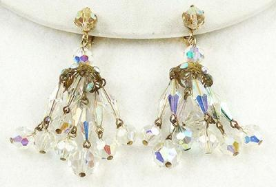 Crystal bead chandelier earrings garden party collection vintage description vintage crystal aurora bead chandelier clip earrings the chandelier consists of six strands of oblong faceted crystal beads with dangling aloadofball Images