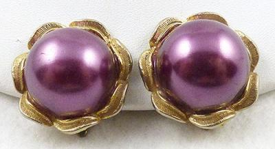 Description Vintage Purple Faux Pearl Clip Earrings The Large Artificial Half Pearls Are Encircled By Gold Plated Leaves
