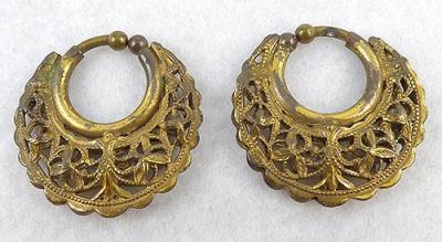 Gold Plated Filigree Hoop Earrings