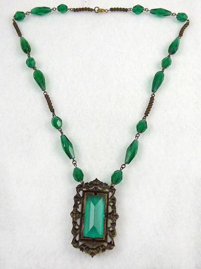 Czech green glass necklace garden party collection vintage jewelry description czech green glass necklace the center pendant is a large rectangular emerald green glass stone inside an ornate brass frame with a leaf and mozeypictures Image collections