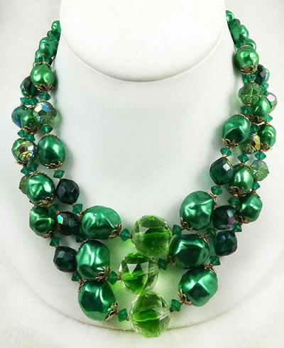 Green Bead and Crystal Triple Strand Necklace - Garden Party