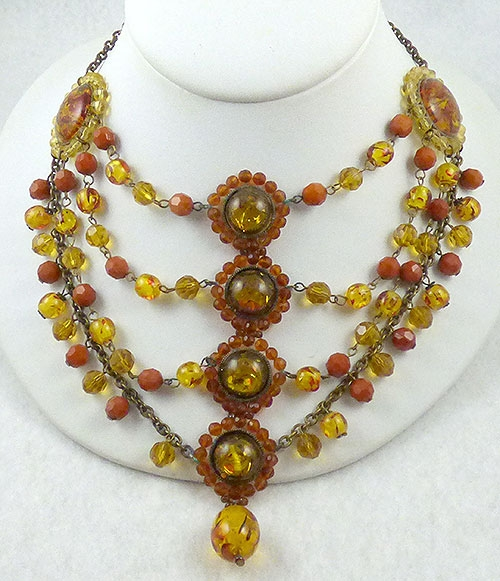 Autumn Fall Colors Jewelry - Amber Medallion Tiered Necklace