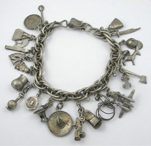 Newly Added Mexican Sterling Charm Bracelet