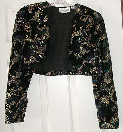 Clothing - Vintage Paquette Too! Black Velvet Bolero Jacket