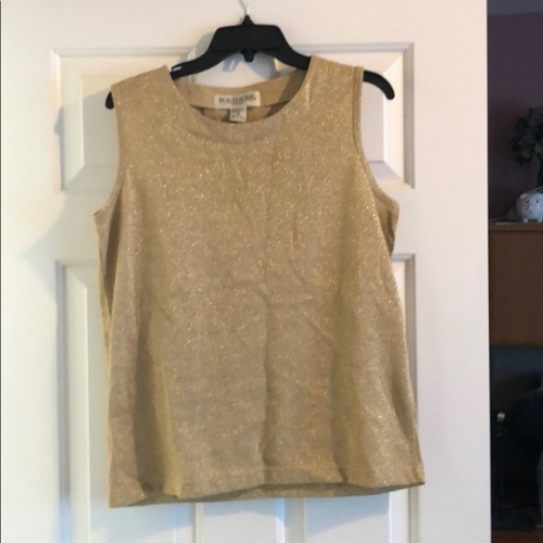 Clothing & Shoes - Bob Mackie Gold Metallic Sleveless Sweater